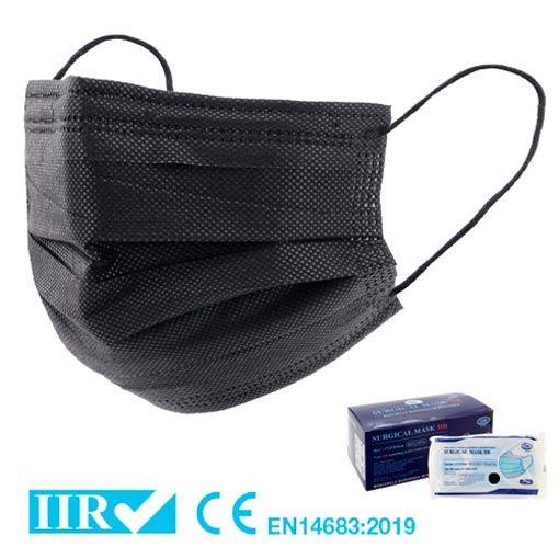 Pack 50 Mascarillas Quirúrgicas tipo IIR color Negro